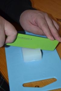 Step 1: Cut glycerin into 1 inch cubes.